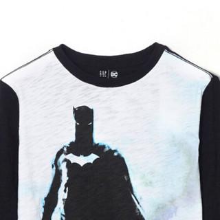 Gap旗舰店 男童 DC正义者联盟系列 棉质印花长袖T恤 童装内搭秋衣 382106 黑色 120cm(S)