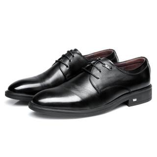 强人 时尚系带款头层牛皮男士商务正装男皮鞋  83DXA203003 黑色 43码