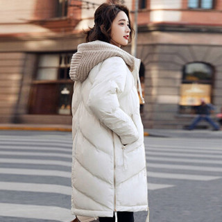 LAXJOY朗悦 2018韩版新款百搭连帽加厚中长款时尚羽绒服女学院风冬装外套 LWYR188T23 白色 S