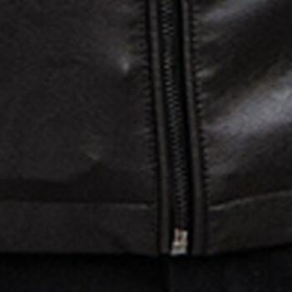 猫人(MiiOW)皮衣 男士时尚休闲立领PU皮衣外套QT2021-811咖啡色XL