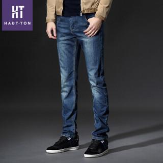 皓顿(HAUTTON)牛仔裤男修身直筒裤子男潮韩版微弹男士小脚长裤 蓝色 34码