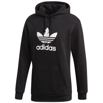 adidas 阿迪达斯 三叶草 男子 三叶草系列 TREFOIL HOODIE 运动 套头衫 DT7964 黑色 M码