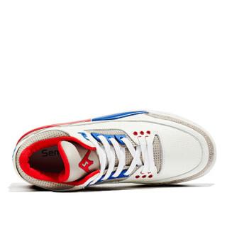 Semir 森马 潮流色拼接低帮平底休闲跑步户外篮球运动鞋男 118419637 白色 40码