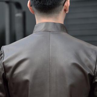 金盾(KIN DON)皮衣 男2019新款绵羊皮立领夹克男士真皮皮衣男修身短款外套 5017q1618 深棕色 3XL