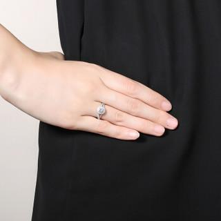 鸣钻国际 星辰 白18k金钻戒女 群镶显钻钻石戒指结婚求婚女戒 情侣对戒女款 共约20分 15号