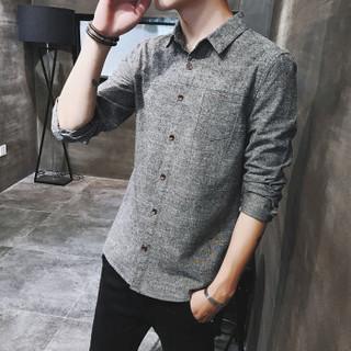 AEMAPE/美国苹果 长袖衬衫男装2018秋冬新款修身纯色时尚商务休闲翻领男士衬衣 CS018 灰色 2XL