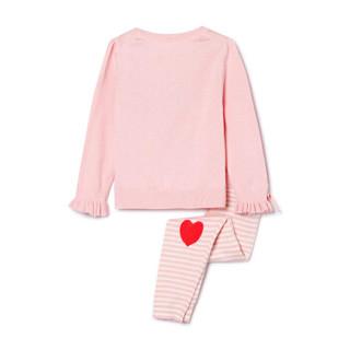 Gap旗舰店 女婴儿 猫咪图案棉长袖针织秋衣秋裤套装  冰粉色 59cm(3-6月)