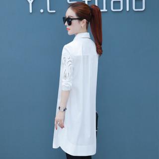 维迩旎 2019春装新款自营女装中长款衬衫女装长袖韩版上衣衬衣 HZ3007-1860 白色 L