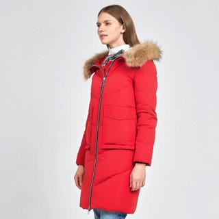 雪中飞 秋冬女士中长款毛领连帽羽绒服女 X70140038 深颊红160
