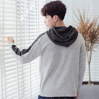 鳄鱼恤(CROCODILE)针织衫 2018秋冬新款男士时尚潮流套头连帽长袖毛衣 A102-DS191 浅灰色 3XL