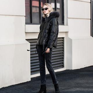 王冠迪娜(WANGGUANDINA) 羽绒服女海宁皮草绵羊皮短款修身貉子大毛领连帽皮衣外套 WGDN198010 黑色 XL