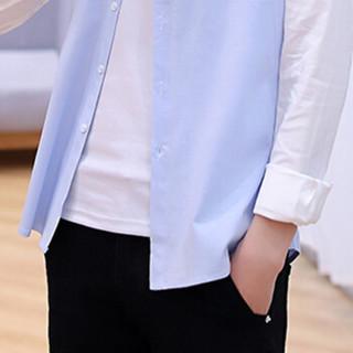 猫人(MiiOW)衬衫 男士休闲时尚潮流百搭青年撞色长袖衬衣A034-C92灰色领2XL