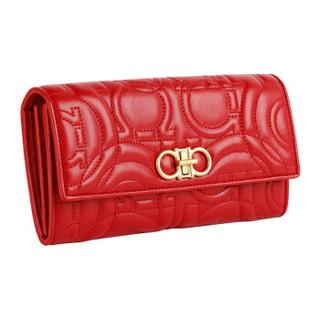 Salvatore Ferragamo 女士红色牛皮革钱包 0695474