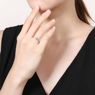 鸣钻国际 华贵 白18k金钻戒 钻石戒指结婚求婚女戒 情侣对戒女款 9号