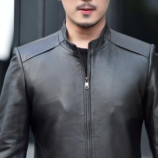 金盾(KIN DON)绵羊皮衣 新品男士时尚简约立领夹克外套5017-1615黑色L