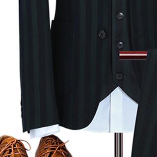 卡帝乐鳄鱼(CARTELO)西服套装 男士条纹商务休闲正装礼服三件套D216-6104绿色XL
