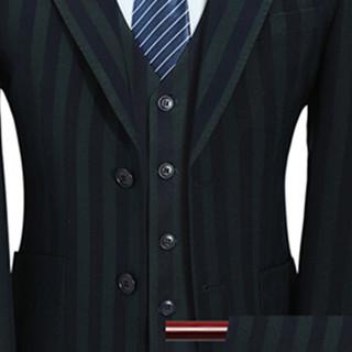 卡帝乐鳄鱼(CARTELO)西服套装 男士条纹商务休闲正装礼服三件套D216-6104绿色5XL