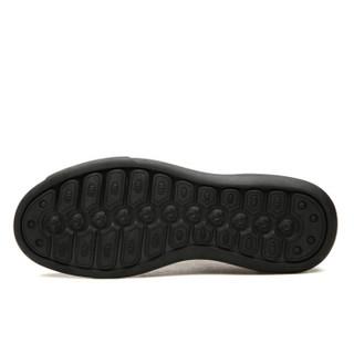 EGCHI 宜驰 休闲男复古系带耐磨擦色男士皮鞋子 26110 黑色 44