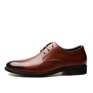 EGCHI 宜驰 正装男士商务休闲软底工作皮鞋子男 36876 棕色 40