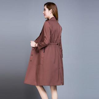 欧偲麦 风衣女时尚2018秋季新款中长款风衣外套女气质修身显瘦百搭 AEZ-HL180060 咖啡色 L
