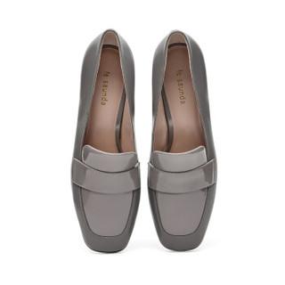 le saunda 莱尔斯丹 时尚优雅通勤OL职业复古圆头套脚高跟女单鞋 LS 9T58501 灰色 37