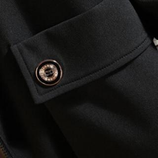 金盾(KIN DON)风衣 2019新款男士时尚简约绣花连帽中长款风衣401-F728黑色3XL