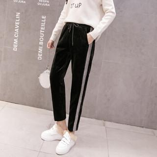 BANDALY 2018冬季新款女装新品休闲裤女金丝绒加绒加厚高腰显瘦休闲保暖裤女 zx5D108-911 黑色 XL