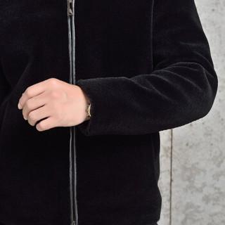 金盾(KIN DON)羊绒皮衣 新品男士时尚水貂领皮衣外套5017-1002黑色4XL