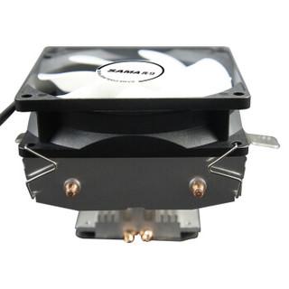 先马(SAMA)冰雪奇缘850 Intel / AMD 双平台CPU散热器 2铜管/风冷散热/下压式直触/9cm彩灯风扇/附带硅脂