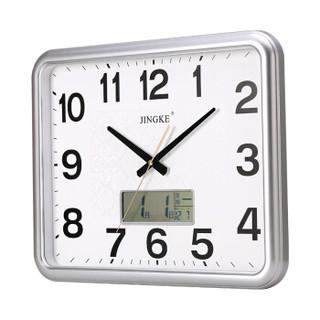 精科(JINGKE)挂钟 挂钟万年历钟表创意客厅静音时钟简约挂表方形日历石英钟 0312 银色 液晶款