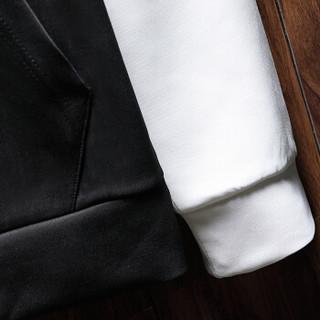 稻草人(MEXICAN)  卫衣男连帽2018秋装新款韩版长袖t恤休闲青少年假两件套头帽衫 白色 2XL