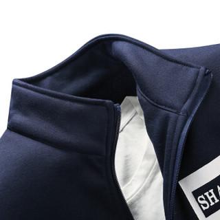 AEMAPE/美国苹果 卫衣男士套装2019春季新款运动休闲男士长袖开衫外套男装 APD75 深蓝 3XL