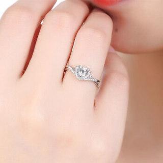 鸣钻国际 心爱 PT950铂金钻戒女 白金钻石戒指结婚求婚女戒 情侣对戒女款 共约19分 18号