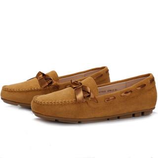 CAMEL 骆驼 女士 甜美舒适蝴蝶结圆头豆豆鞋 A83507605 棕色 40