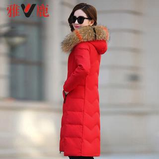 雅鹿 YT6611030 羽绒服女中长款修身大码连帽外套 大红色 XL