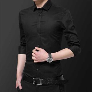 鳄鱼恤(CROCODILE)长袖衬衫男 2018秋冬新款商务休闲职业大码免烫衬衣 A1801708 黑色 L/39
