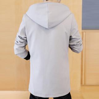 猫人(MiiOW)风衣 男士休闲时尚简约连帽纯色中长款大衣外套401-F124浅灰色L