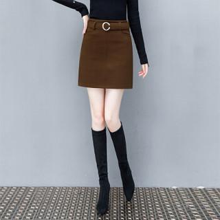 BANDALY 2018冬季新款女装新品毛呢半身裙女ins高腰百搭a字裙呢子包臀裙短裙 HZD09-8686 黑色 XXXXL