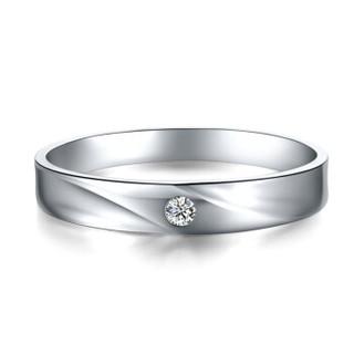 鸣钻国际 相依 PT950铂金钻戒 白金钻石戒指订婚结婚男戒 情侣对戒男款 ZSDJ061