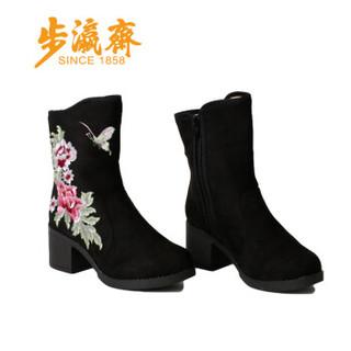 步瀛斋 中老年人女休闲加绒保暖 老北京高帮防滑绣花牡丹妈妈鞋 1539-6 黑色 40