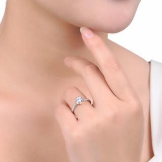鸣钻国际 眷恋 PT950铂金钻戒 钻石戒指结婚求婚女戒 情侣对戒女款 共约1.1克拉 F-G/SI