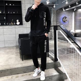 富贵鸟(FUGUINIAO)卫衣男韩版时尚连帽卫衣上衣休闲运动长裤两件套男 黑色 M