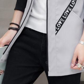 猫人(MiiOW)风衣2019春季新款男士休闲时尚连帽字母织带中长款大衣外套401-F812浅灰色2XL