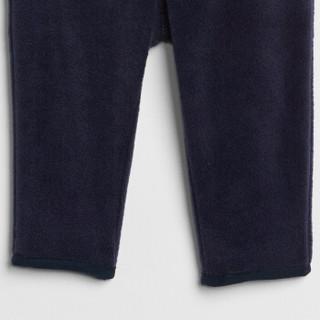 Gap旗舰店 婴儿加绒休闲运动裤348428 男宝宝卫裤儿童抓绒裤子 海军蓝色 6-12M