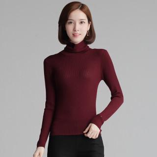 尚格帛 2018冬季新品女装羊绒衫纯色高领毛衣套头针织衫打底衫 LLPY16MP6-001GB 黑灰 XL