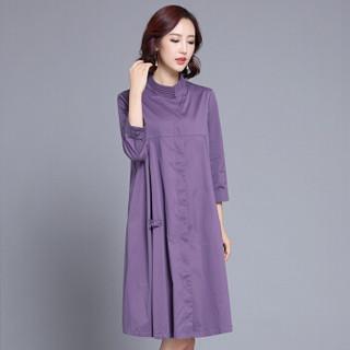 欧偲麦 风衣女中长款女士外套女2018春秋季新款韩版百搭时尚修身个性 HYX-TD18080 紫色 XL