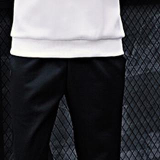 猫人(MiiOW)卫衣套装2019春新款男士休闲时尚条纹连帽套头卫衣运动套装1310-WY53白色4XL