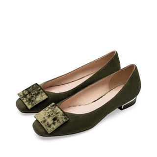 le saunda 莱尔斯丹 时尚休闲圆头套脚方形搭扣粗跟低跟女单鞋 LS 9T25021 绿色羊皮革+织物 37