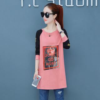 尚格帛 女装T恤女打底T恤衫韩版显瘦印花长袖圆领T恤 HZ3304-1137GB 粉色 S