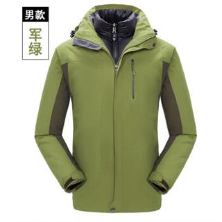 凡淑 2018冬季新品户外男女两件套羽绒冲锋衣保暖工作服短外套 LLDX161FSTZR J1618桔色-男 XXXL